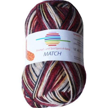 GB Match sokkenwol - kleur 7053 Bordeaux-Ecru-Geel-Grijs