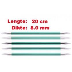 Knitpro Zing 20 cm Sokkennaalden 8.0 mm