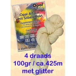 Ongeverfde Opal Sokkenwol - 4 draads met GLITTER