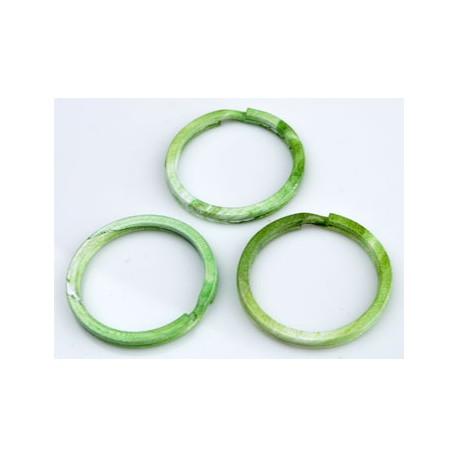 Metalen Sleutelhanger Ring - Groen-Wit