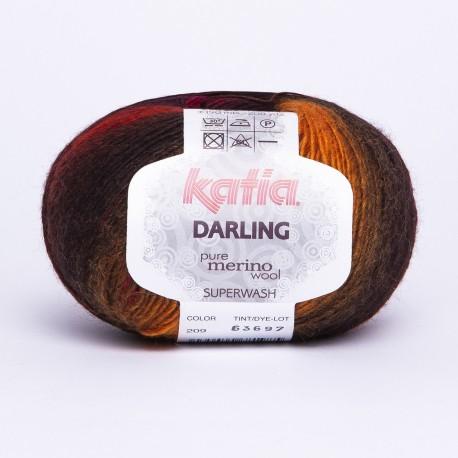 Katia Darling kleur 209 - Oker-Fuchsia-Zwart-Donker Paars