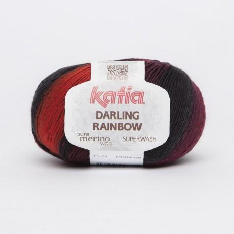 Katia Darling Rainbow kleur 302 - Rood - Zwart - Lila
